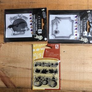 5/$15 Halloween/Fall Clear Stamps set of 3 NWT